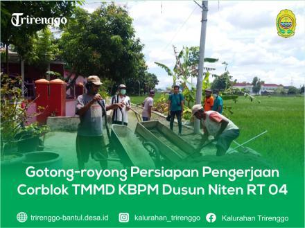 Gotong-royong Persiapan Pengerjaan Corblok TMMD KBPM Dusun Niten RT 04