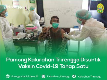 Pamong Kalurahan Trirenggo Disuntik Vaksin Covid-19 Tahap Satu